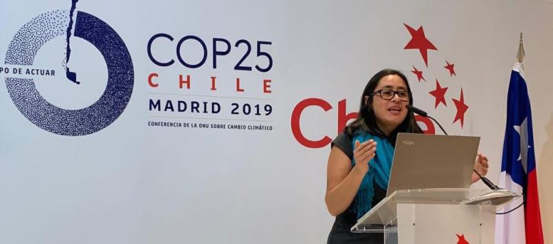 Margarita Parra speaking at COP 25